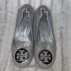 Tory Burch Reva Flat Gray Silver Shoes